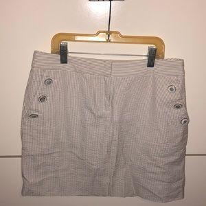 JCREW grey and white striped skirt